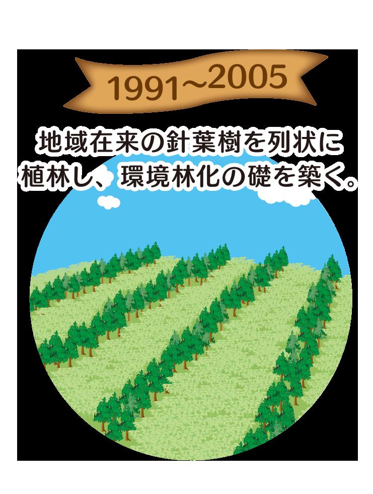 1991〜2005 地域在来の針葉樹を列状に植林し、環境林化のクサ礎を築く。